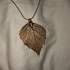 REAL gold dipped aspen leaf pendant necklace